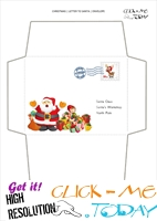 Free envelope to Santa Claus template from toddlers with stamp 48