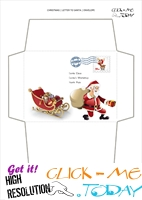 Funny envelope to Santa template sleigh and Santa with address 24