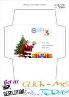 Santa envelope template Xmas tree with postage stamp 14