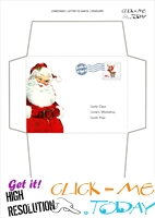 Free printable vintage Santa face envelope with stamp 58