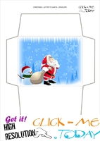 Wonderful envelope to Santa template with snowman 67