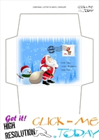 Wonderful envelope to Santa template with snowman and stamp 68