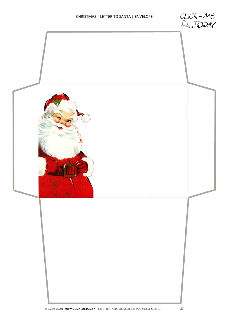 picture regarding Printable Santa Envelopes named Totally free printable traditional Santa confront envelope 57