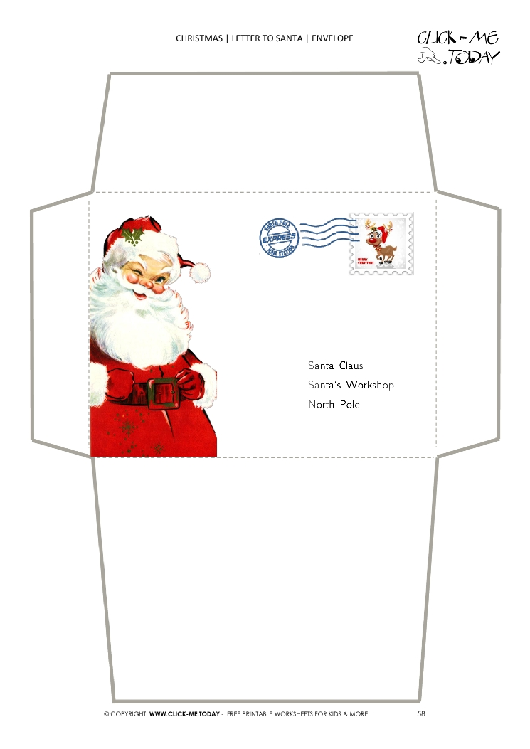 Terrible image regarding printable santa envelopes