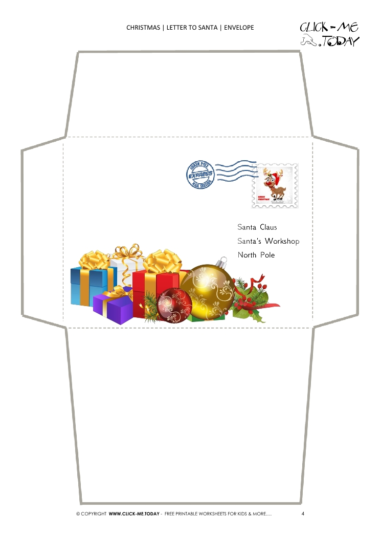 Free printable Xmas envelope stationery presents with stamp 4