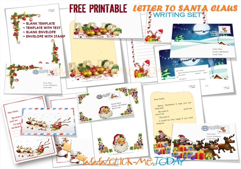 Free printable letter to santa writing set spiritdancerdesigns Image collections