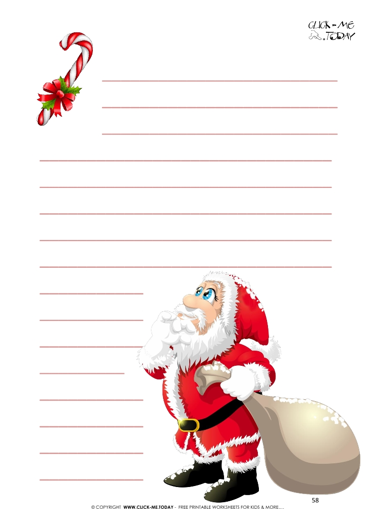 funny-santa-writing-paper-candy-cane-with-lines%20(58) Santa Claus Letter Templates Free on for preschool, printable editable, printable blank, printable christmas,