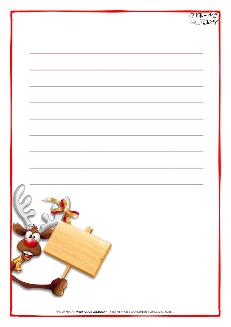 ... Printable Letter to Santa Claus paper - template with lines Reindeer