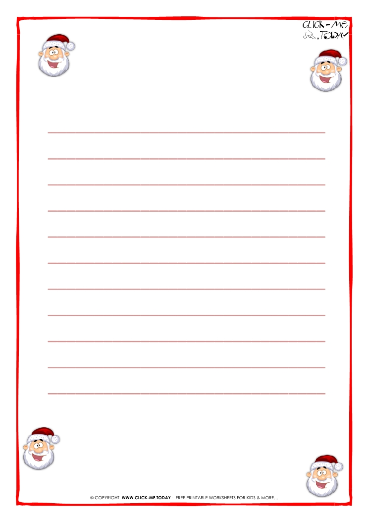 printable letter to santa claus paper template with lines santa