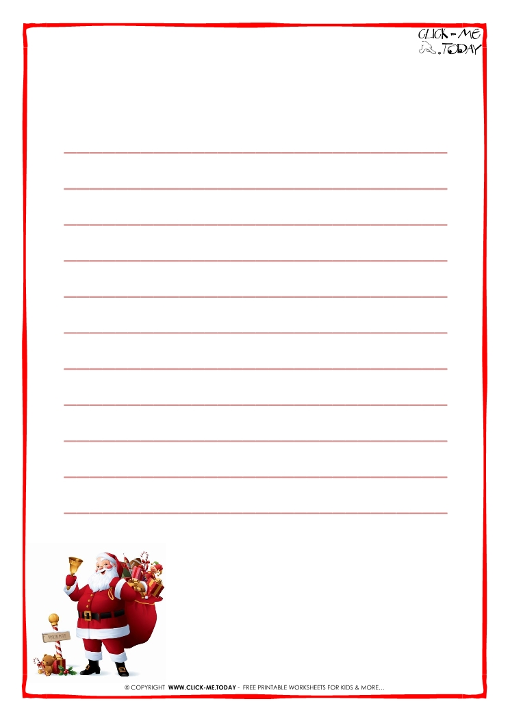 letter to santa claus paper template with lines santa 15. Black Bedroom Furniture Sets. Home Design Ideas