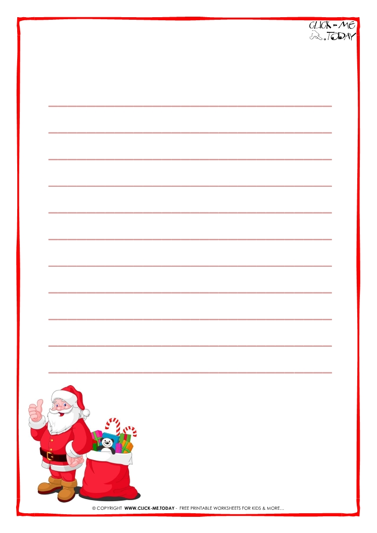 letter to santa claus paper template with lines santa presents 17. Black Bedroom Furniture Sets. Home Design Ideas