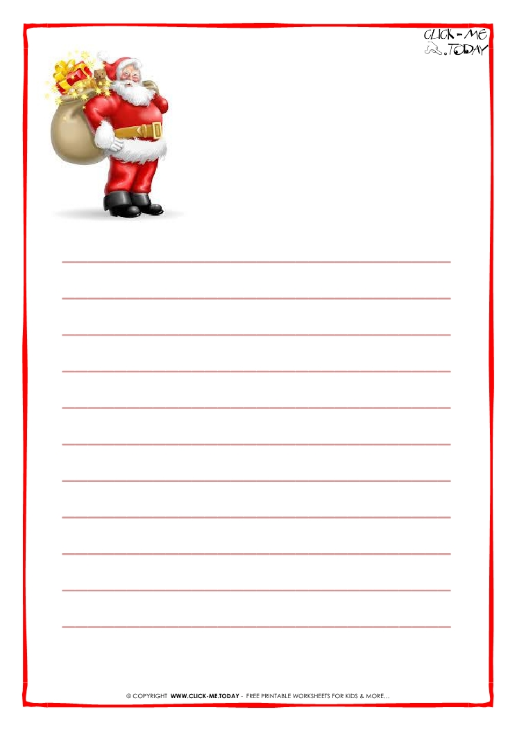 printable letter to santa claus paper with lines santa presents 18