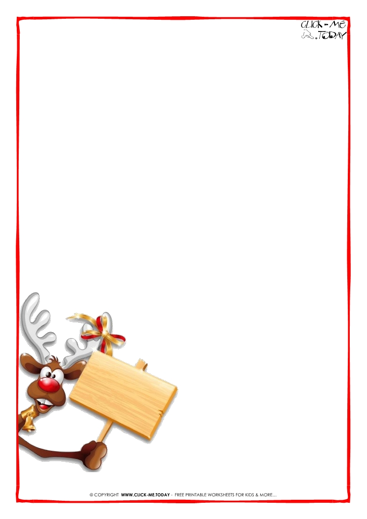 Printable Letter to Santa Claus blank paper template Reindeer-2