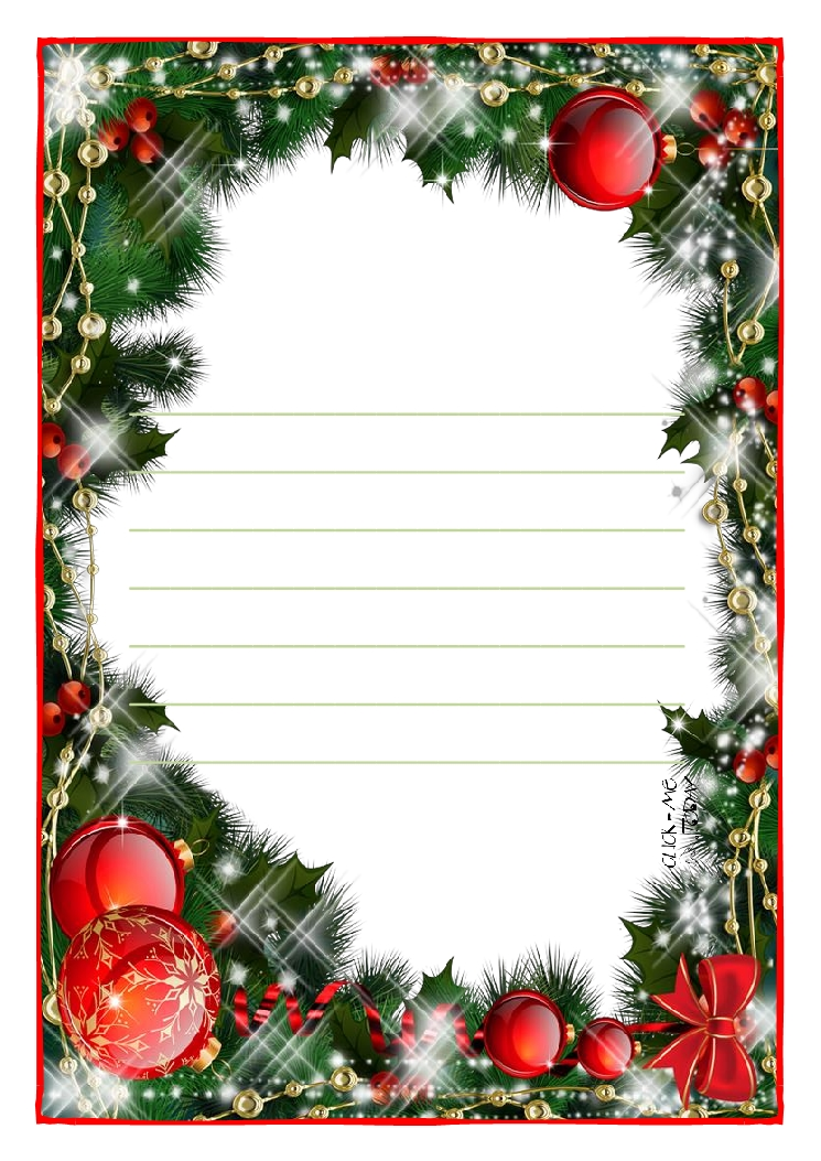 Letter to Santa Claus paper template with lines Christmas background ...