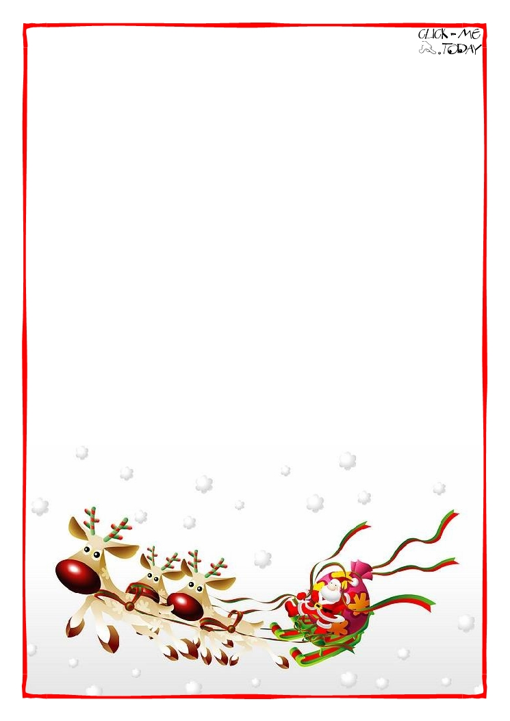 Printable Letter to Santa Claus blank paper template Sleigh Background ...