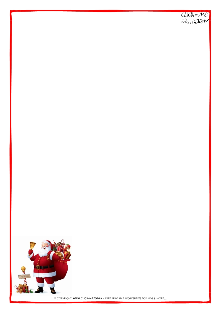 Printable Letter To Santa Claus Blank Paper Santa Border 5