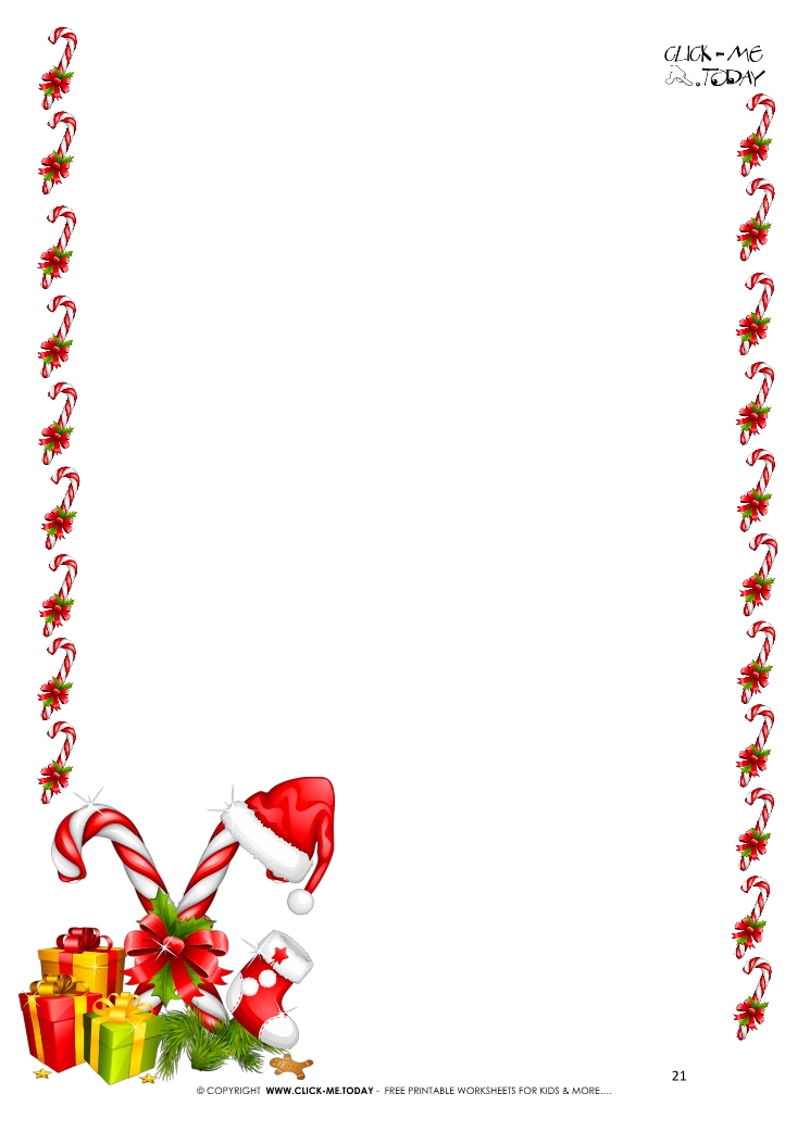 photo regarding Printable Candy Cane known as No cost printable letter towards Santa template border of sweet canes 21