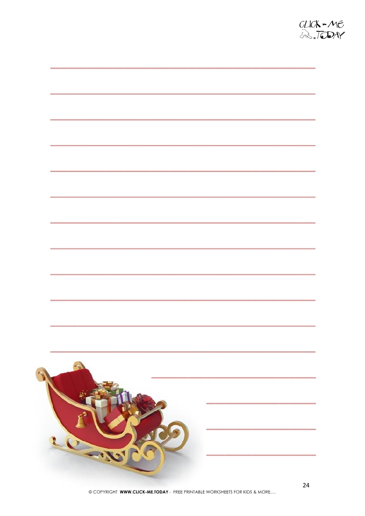 free printable letter to santa template sleigh with lines 24