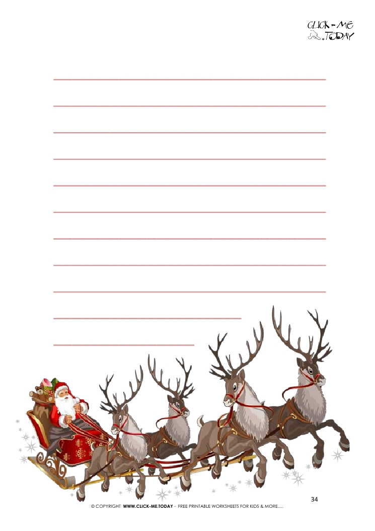 Nice Letter To Santa Template Santa Claus Sleigh Reindeers With