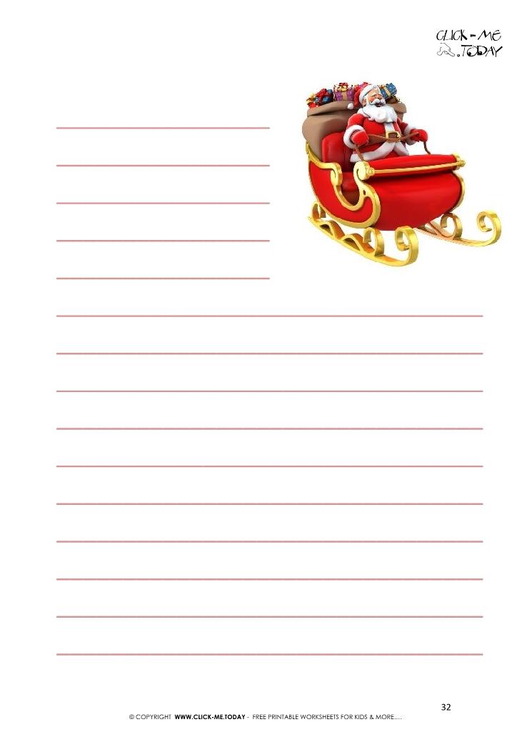 free printable letter to santa template sleigh with lines 32 - Free Printable Letter From Santa Template