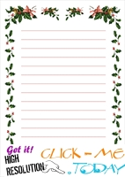 Free printable Christmas stationery borders of holies with lines 6