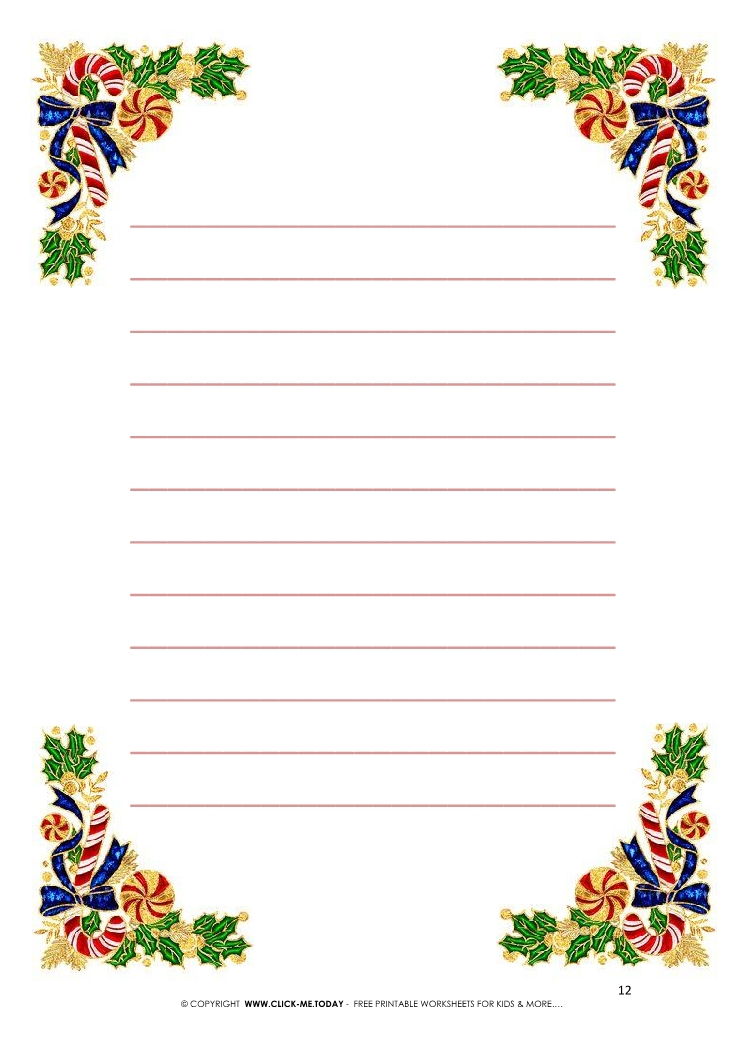 picture relating to Free Printable Christmas Letterhead called Totally free printable Common Xmas letterhead with traces 12
