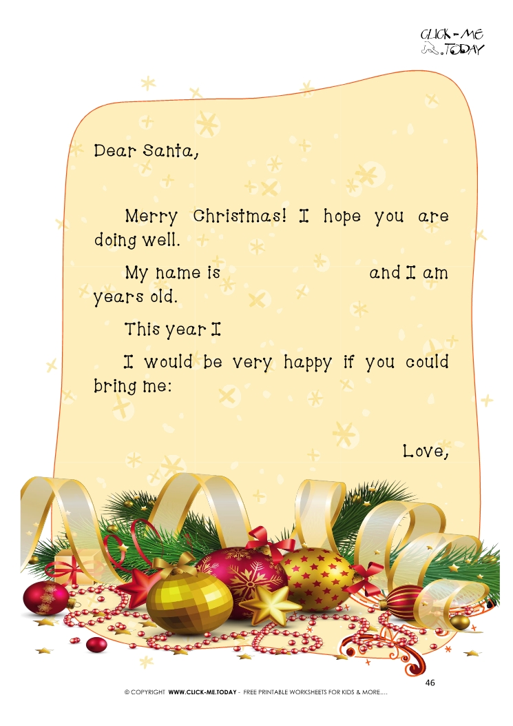 Christmas ready letter to Santa Claus template with text 46