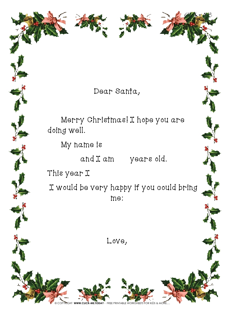 free printable christmas santa stationery with sample text and
