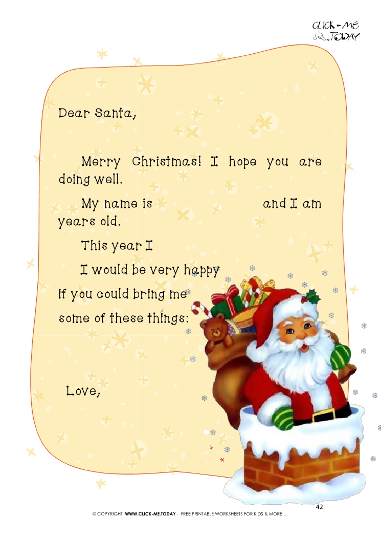 Free printable example text for santa claus letter 42 spiritdancerdesigns Images
