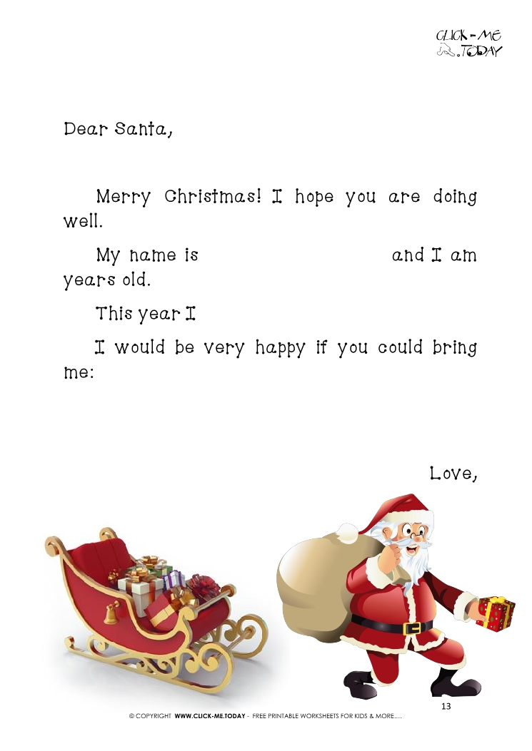funny letter to santa template with short text sleigh and running santa 13