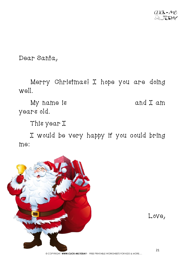 Printable Letter to Santa template with sample text and