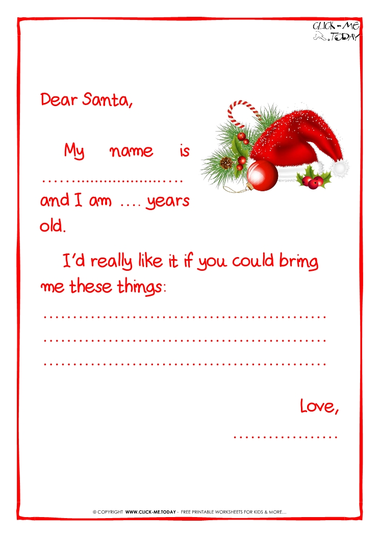 Ready letter to Santa Claus template Less text Santa hat 1