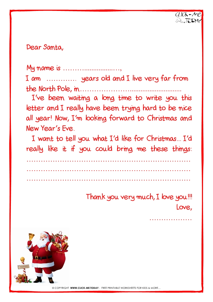 ready letter to santa claus template more text santa claus 15