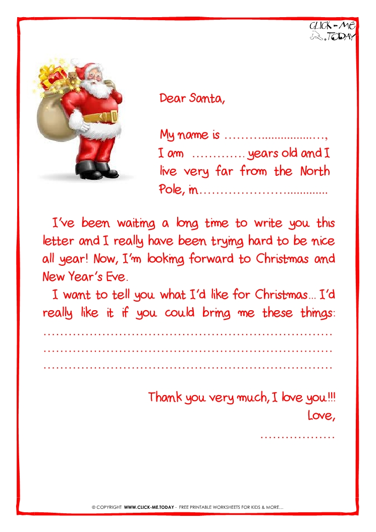Ready Letter To Santa Claus Template More Text Santa Presents - Free printable letter from santa template