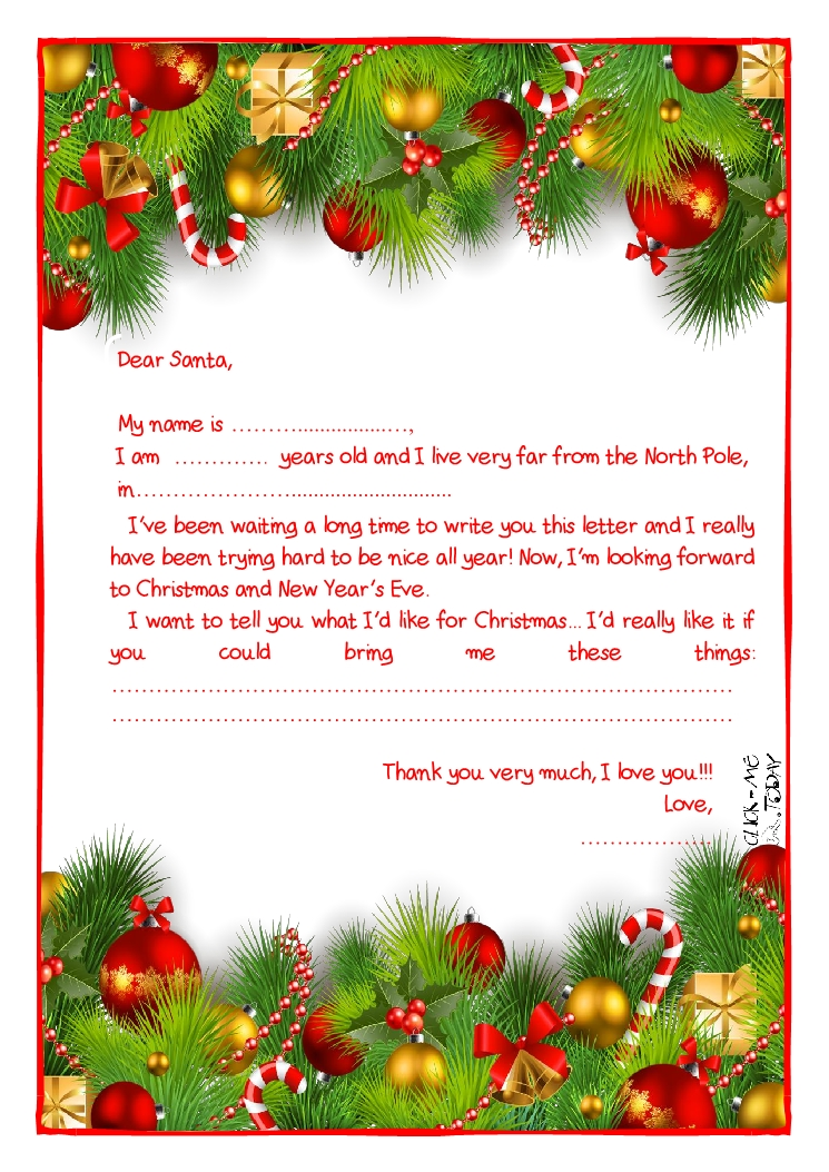 letter to Santa Claus template - More text -Xmas Decoration-19