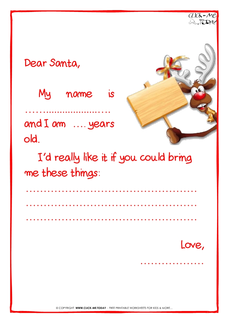 letter to Santa Claus template Less text reindeer 2