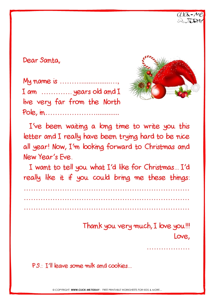 Printable Sample Letter To Santa Claus With Ps Santa Hat 21