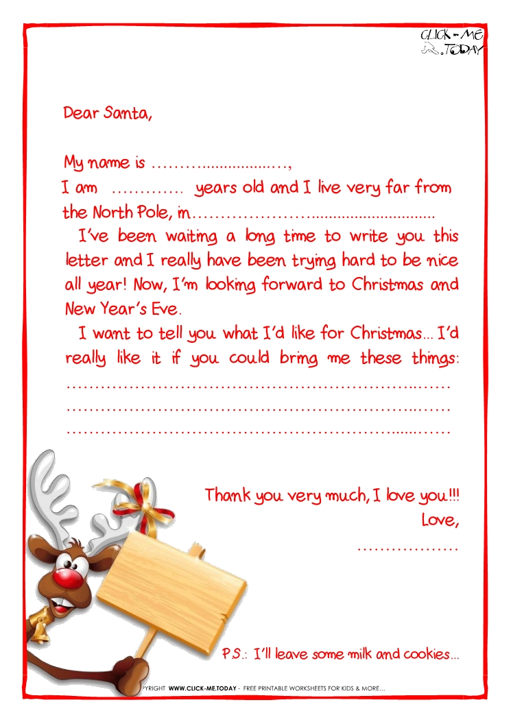 Sample Letter To Santa Claus Template