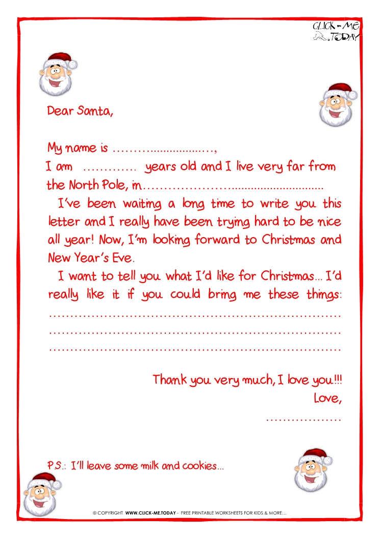 Printable sample letter to Santa Claus - with PS -Santa face-23