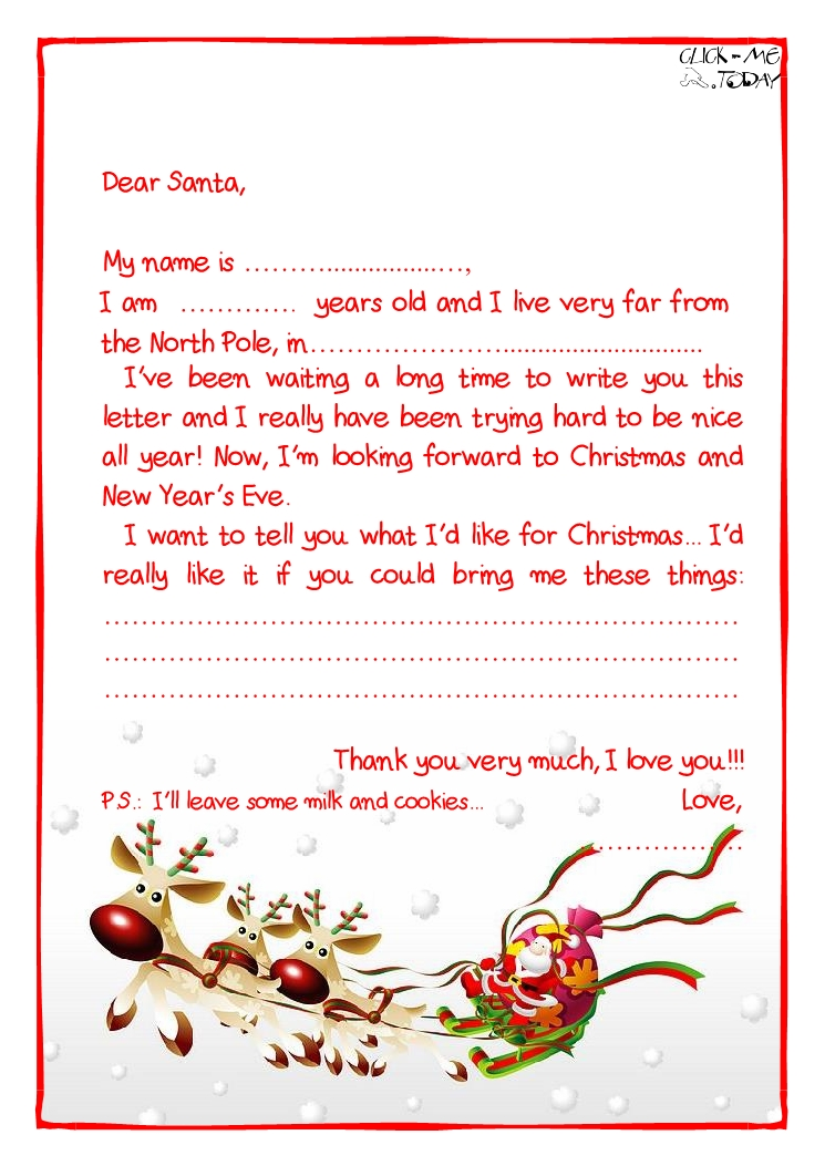 Printable Sample Letter To Santa Claus With Ps Sleigh 24