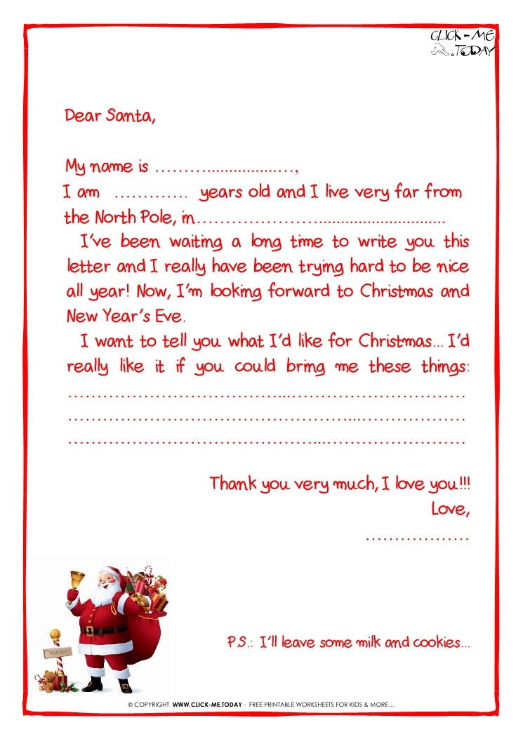 Printable sample letter to santa claus with ps santa claus 25 spiritdancerdesigns Gallery