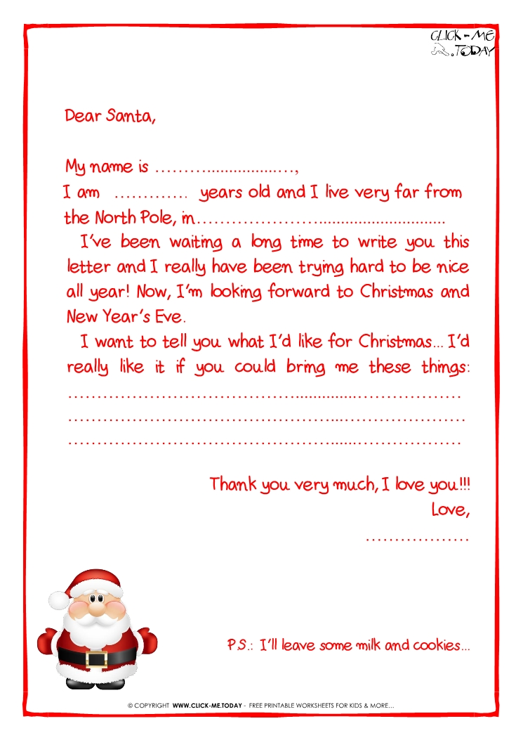 Printable sample letter to santa claus with ps cute santa 26 spiritdancerdesigns Choice Image