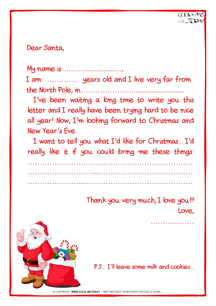 Printable sample letter to santa claus with ps santa presents 27 spiritdancerdesigns Choice Image