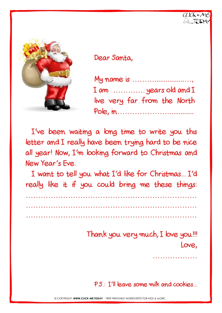 Printable sample letter to Santa Claus - with PS -Santa presents-28