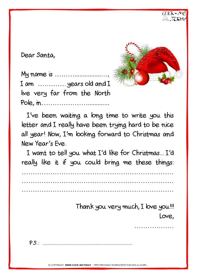 letter to santa claus black white free template ps santa hat 31