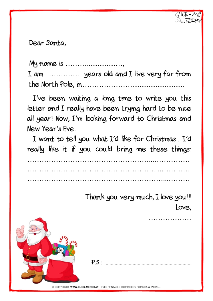 Letter To Santa Claus Black & White Free Template - Ps -Santa