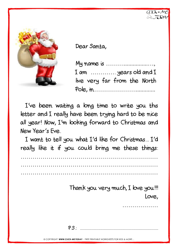 letter to santa black white template santa presents 38