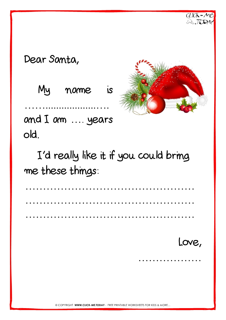 Printable Example Santa Claus Short Letter Black White Template
