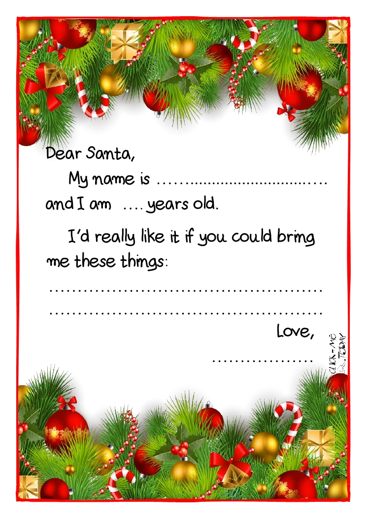 Printable Example Santa Claus Short Letter Black Amp White