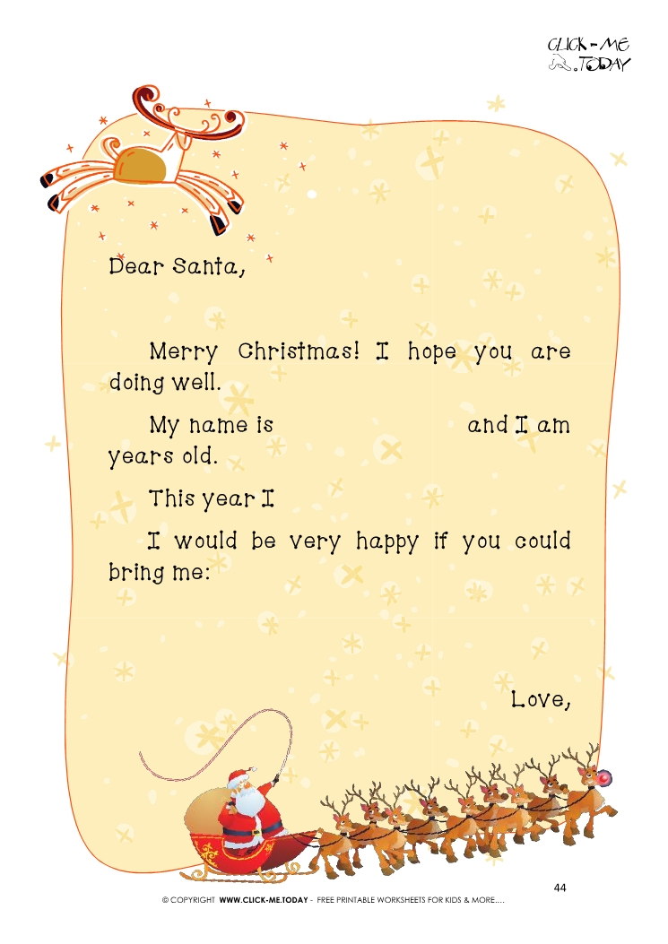 Ready paper with text for letter to Santa Claus template 44